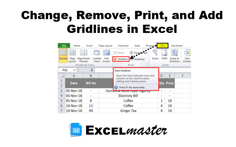 Change, Remove, Print, and Add Gridlines in Excel