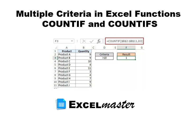 Multiple Criteria in Excel Functions COUNTIF and COUNTIFS